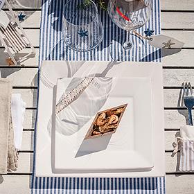 Décoration de Table Thème Mer Rayé Bleu Marine