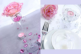 100 Petits Diamants Transparents Décoration Table Mariage Fuchsia
