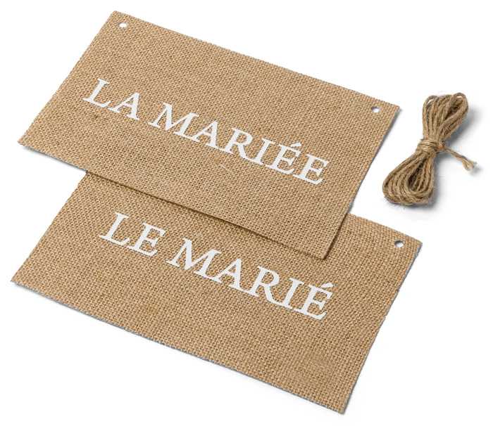 Dos de Chaise Mariage Jute Maries Beige - Taupe