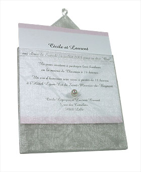Enveloppes Organdi Transparent avec Perle Blanc