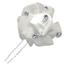 Pic Epingle Cheveux Chignon Fleur Tulle et Strass Mariage Blanc