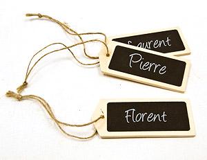 Étiquettes ardoise en bois avec cordelette x 6