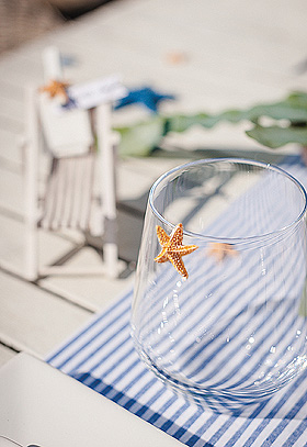 Décoration de verre avec étoile de mer