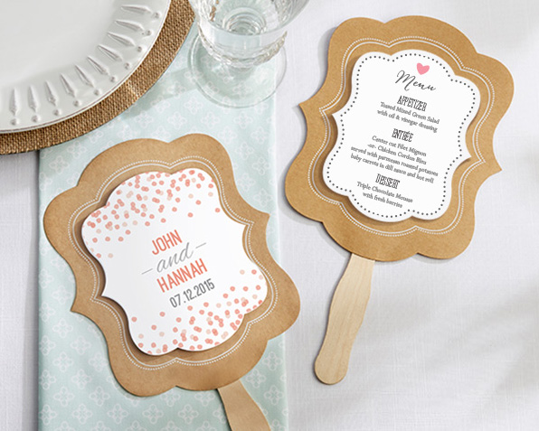 Eventails Menu Programme Mariage Personnalisables Kraft Beige - Taupe
