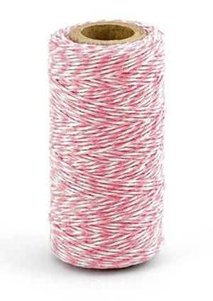 Cordelette bicolore baker twine rose et blanc