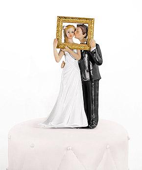 Figurine Mariage Cadre Doré