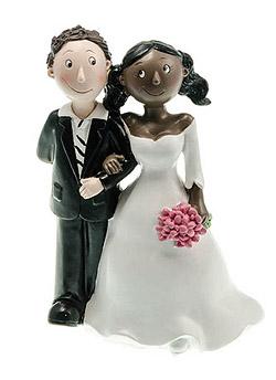 Figurine Mariage Mixte Femme Black Homme Blanc