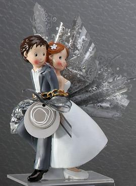 Pochon Dragées Figurine Mariés Enchainés