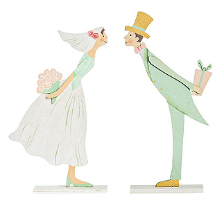 Figurines Mariage en Bois French Kiss Ivoire Vert Jade