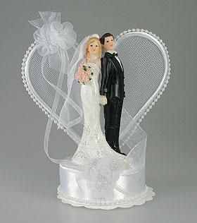 Figurine Mariés Arche Coeur Perle