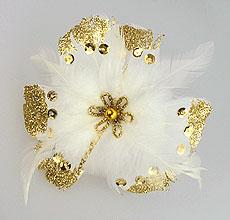 Fleurs Plumes Paillettes Pince Blanc Doré