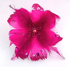 Fleurs Plumes Paillettes Pince Fuchsia
