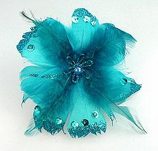 Fleurs Plumes Paillettes Pince Turquoise