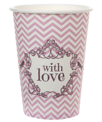 Gobelets Carton With Love Mariage Rose