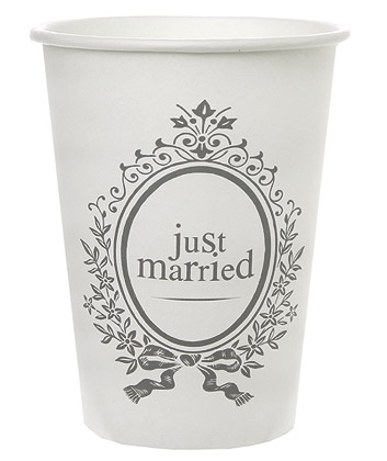gobelets carton just married mariage vaisselle jetable. Black Bedroom Furniture Sets. Home Design Ideas