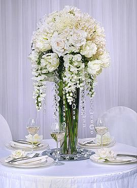 Centre de table fleur guirlande cristal mariage