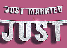 Banderole Lettres Just Married Mariage Argent