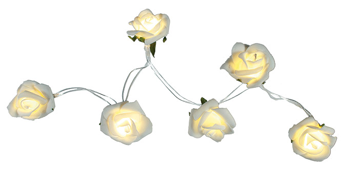 guirlande lumineuse led roses blanches piles perles. Black Bedroom Furniture Sets. Home Design Ideas