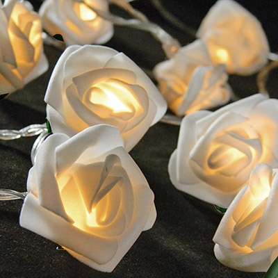 la guirlande lumineuse mini roses blanches piles d coration de table mariage mariage. Black Bedroom Furniture Sets. Home Design Ideas