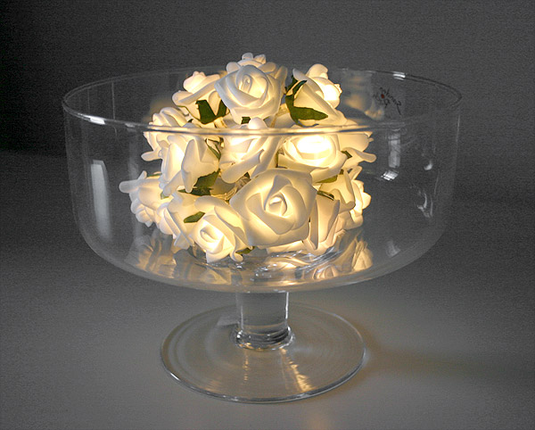 Guirlande Lumineuse Led Roses Blanches Piles Blanc