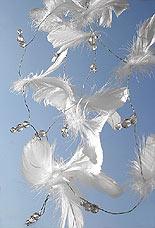 Guirlande Plumes Perles Decoration Mariage Blanc