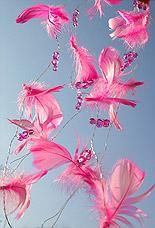 Guirlande Plumes Perles Decoration Mariage Fuchsia