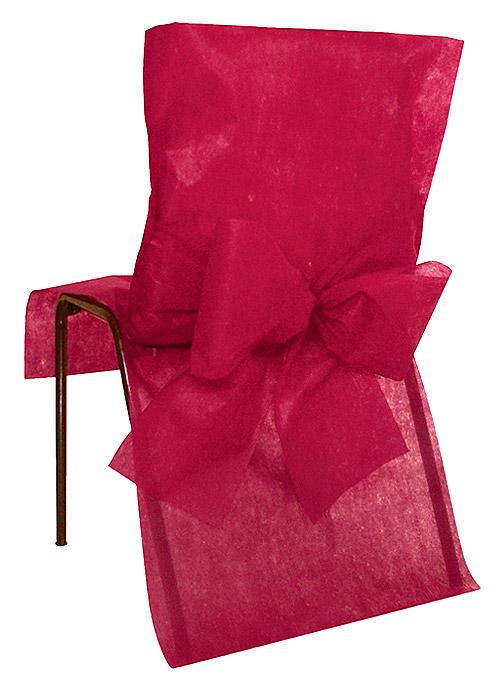 Housses de Chaise avec Noeud Mariage x4 Bordeaux