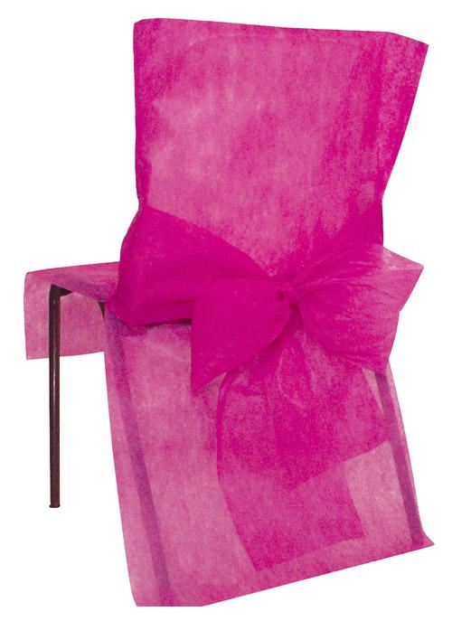 4 housses de chaise intiss avec noeud d coration de table for Housse de chaise en tissu