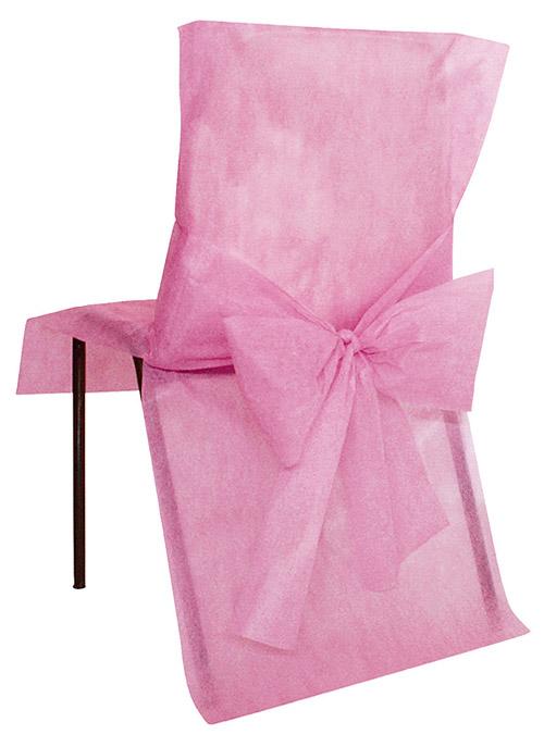 Housses de Chaise avec Noeud Mariage x4 Rose