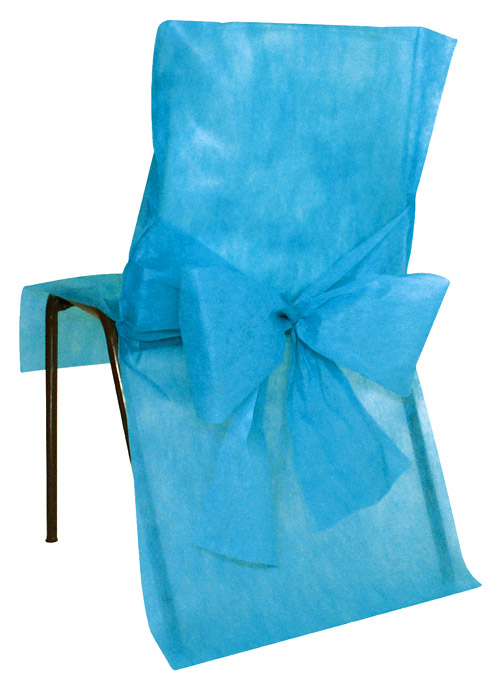 4 housses de chaise intiss avec noeud d coration de table for Housse de chaise turquoise