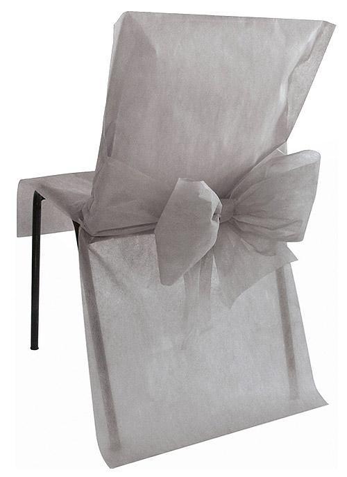 Housses de Chaise avec Noeud Mariage x4 Gris