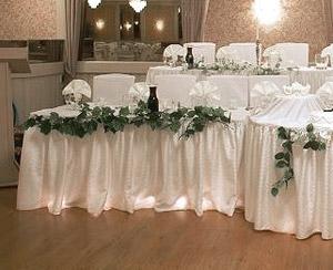 Jupe de Table Buffet Satin Froncé Mariage Blanc