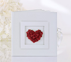 Livre d'Or Mariage Coeur Roses Rouges