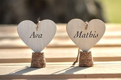Marque place coeur en bois