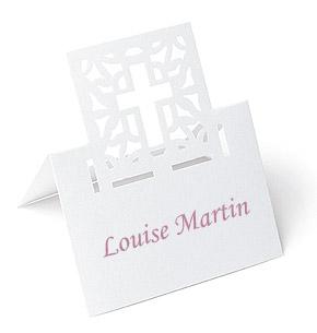 Marque Places Carton Croix Découpé x 20 Blanc