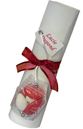 Rond de serviettes avec Contenant Dragées