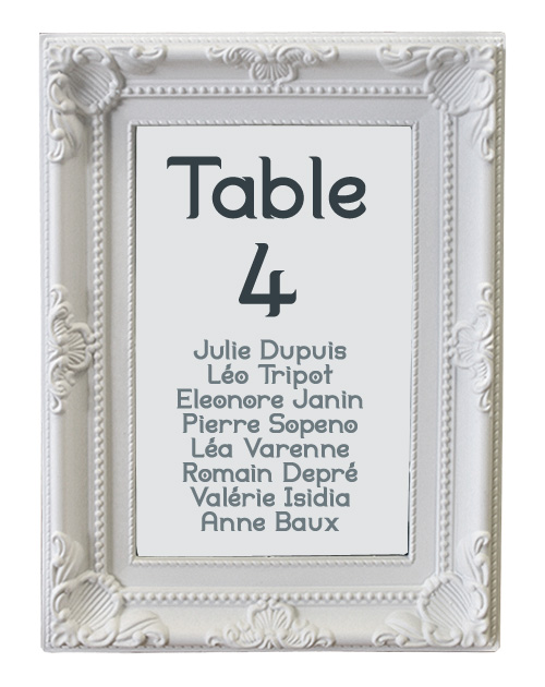 marque table mariage cadre baroque blanc marque table mariage. Black Bedroom Furniture Sets. Home Design Ideas