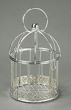 Mini Cage à Oiseaux Argentée Mariage