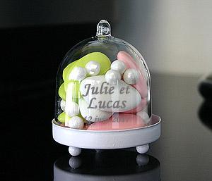 Mini Cloche Plastique Contenant Socle Métal Dragées