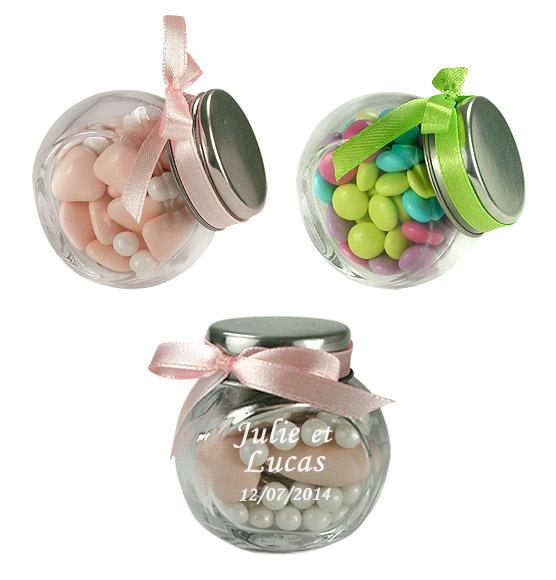 le mini pot en verre style confiseur nos contenants pour drag es ou bonbons mariage. Black Bedroom Furniture Sets. Home Design Ideas