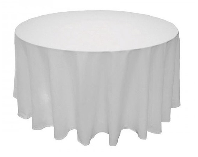 nappe ronde blanche tissu polyester 3m d coration de table bapteme. Black Bedroom Furniture Sets. Home Design Ideas