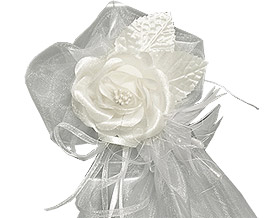 Tulle Fleurs et Perles Décoration Mariage