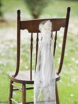 Cocardes Tulle Fleurs et Perles Décoration de Chaise