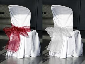 Noeuds de Chaise en Organza Mariage Blanc Bordeaux