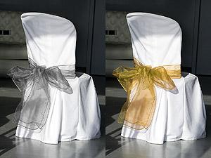 Noeuds de Chaise en Organza Mariage Argent Doré