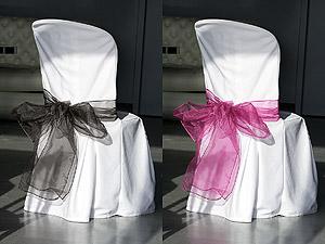 Noeuds de Chaise en Organza Mariage Fuchsia Noir