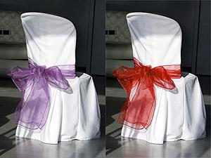 Noeud de chaise organza parme ou rouge