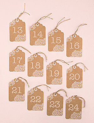 12 Numéros Marque Table Etiquettes Kraft Vintage Beige - Taupe