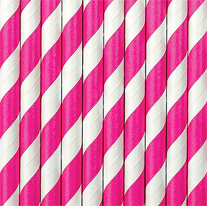 Pailles rayures fuchsia Candy Bar