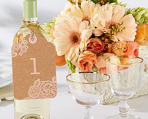 12 Numéros de Table Etiquettes Kraft Mariage Beige - Taupe